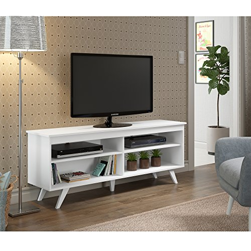 New 58 Inch Wide Simple Contemporary Television Stand in White (58