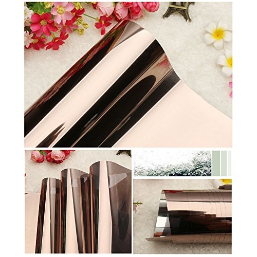 HOHO 23.6in By 118.1in High Rejection Reflective Solar Bronze Silver Tint Film Window Glass Heat Control - Bronze Tint