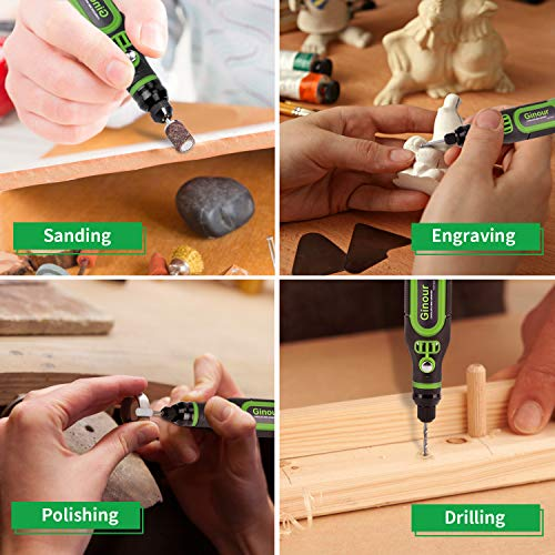 Cordless Rotary Tool, Ginour 3.7V Mini Power Rotary Tool with Front LED Lights, 32pcs Accessories Kit, 3-Speed and USB Charging Multi-Purpose for Carving, Drilling, Sanding, Cutting and Polishing