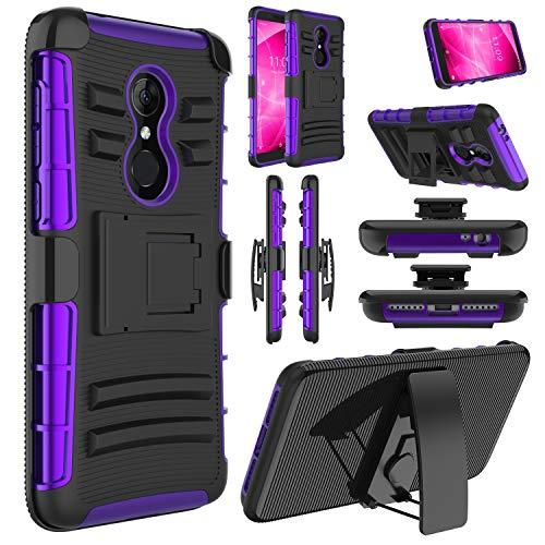 Revvl 2 Case (T-Mobile), Alcatel 3 Case, Alcatel REVVL 2 5052W Case, Elegant Choise Shockproof Kickstand and Belt Clip Hybrid Heavy Duty Full Body Protective Case for Alcatel Revvl 2 5.5 (Purple)