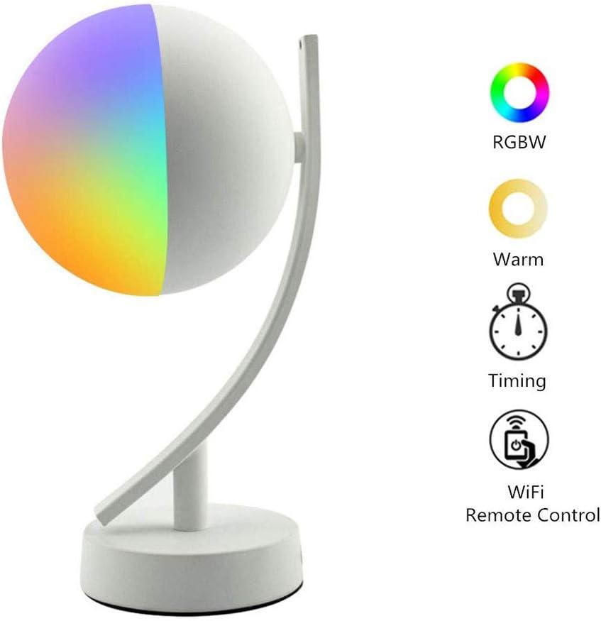 VISTANIA Lámpara de Mesa Inteligente Compatible con Alexa Google Inicio WiFi RGBW Inteligente Luz de Noche Junto a la Cama controlada por Voz/APLICACIÓN Luces de Escritorio Regulables