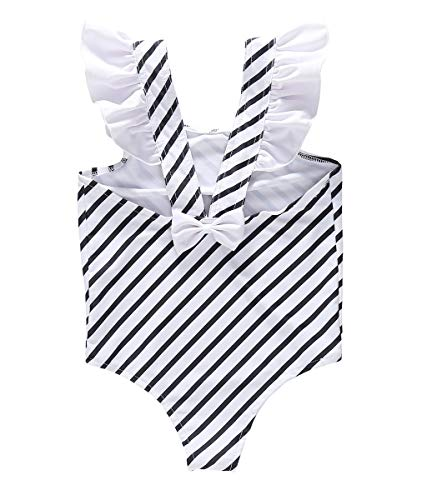 One Swimsuit Piece Ruffle Infant (Baby/Toddler Girls Striped Ruffle One Piece Swimsuit with UPF 50+ Sun Protection (5-6T, XBlue))