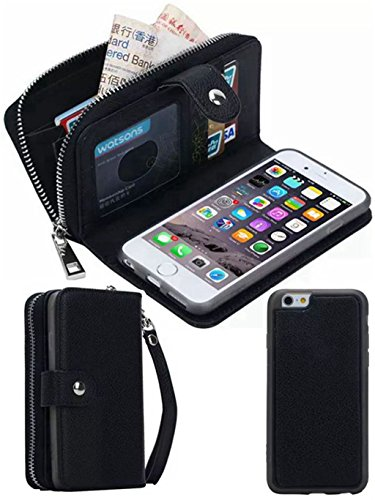 iPhone 5S/SE Wallet Case, HYSJY Magnetic Detachable PU Leather Wallet Purse For Women Men with Zipper , Credit card Slots, Card Holer,Flip Slim Cover Case Fit iPhone 5/5S/SE (ZIP-Black)