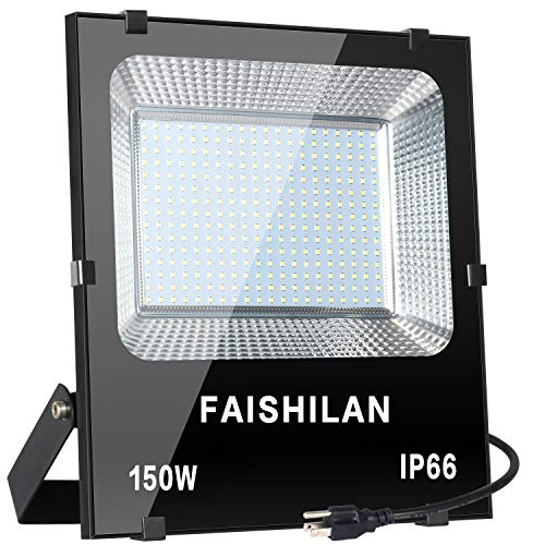 FAISHILAN 150W LED Flood Light,150W(750W Halogen Equiv), Outdoor IP66 Waterproof Work Lights, 15000Lm,6500K, Outdoor Floodlight for Garage, Garden, Lawn and Yard