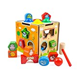 GEDIAO Pounding Bench Wooden Toy with Mallet Shape Sorter for Toddlers (Developmental Toy)