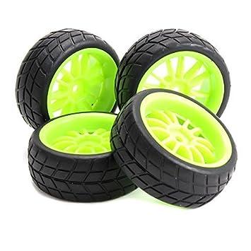 yiguo verde 12 Spoke Llantas rueda de plástico y Entramado Patrón neumáticos de caucho para 1: 10 RC en carretera coche Set de 4: Amazon.es: Juguetes y ...