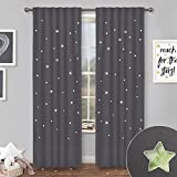 kids room design NICETOWN Blackout Panels with Die-Cut Stars - Starry Night Sleep-Enhancing Cosmic Themed Twinkle Curtains for Baby/Nursery/Kids Room, Draft Blocking Draperies (Grey, 2 Pieces, W52 x L84 Inch)