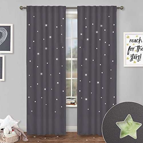 NICETOWN Blackout Panels with Die-Cut Stars - Starry Night Sleep-Enhancing Cosmic Themed Twinkle Curtains for Baby/Nursery/Kids Room, Draft Blocking Draperies (Grey, 2 Pieces, W52 x L84 Inch)