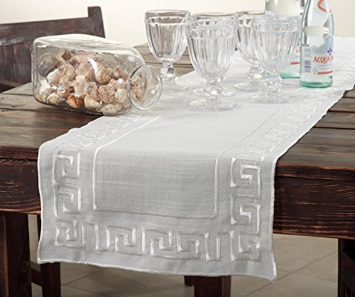 Fennco Styles Greek Key Embroidered Design Table Runner - Ivory - 16