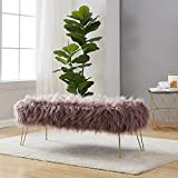 """Ornavo Home Modern Contemporary Faux Fur Long Bench Ottoman Foot Rest Stool/Seat with Gold Metal Legs - 15"""" L x 45"""" W x 15"""" H"""