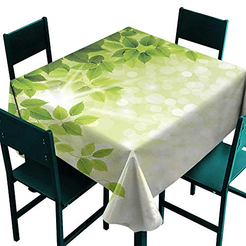 All of better Leaf Tablecloth Decorative Summer Spring Branch Leaves Foliage on Abstract Backdrop Forest Green Light Green and Apple Green Small Square Tablecloth W 36