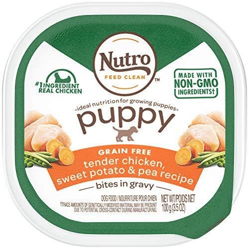 NUTRO PUPPY High Protein Grain Free Natural Wet Dog Food Bites in Gravy Tender Chicken, Sweet Potato & Pea Recipe, (24) 3.5 oz. Trays
