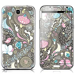 SX-077 Flower Pattern Front and Back Protector Stickers for Samsung Note 2 N7100