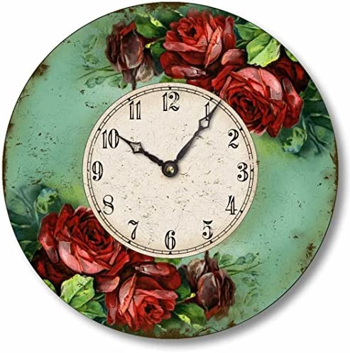 Fairy Freckles Studios Item C2027 Victorian Style 10.5 Inch Red Roses Clock