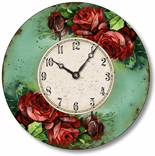 Victorian Style 10.5 Inch Red Roses Clock