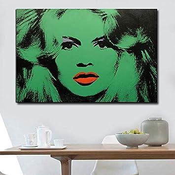 HGlSG Pintura al óleo Famosa Retrato Carteles e Impresiones Colorido Pretty Green Women Wall Art Pictures for Living Room Picture Home Decor A1 50x70cm