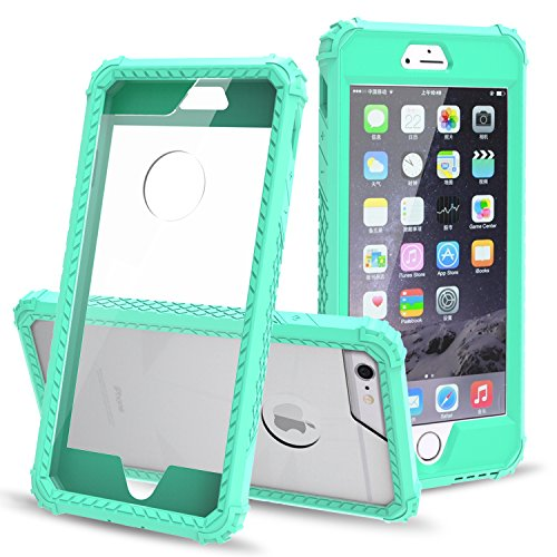 AOKER [Crystal Clear] [Ultra Thin] [Shockproof] [Scratch Resistant] Hard PC Cover+ Rubber TPU Bumper Hybrid Non-Slip Case Cover for iPhone 6S Plus/iPhone 6 Plus(5.5