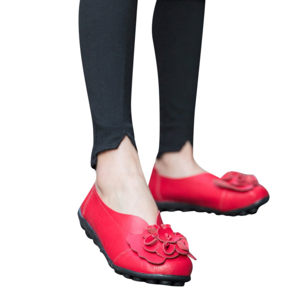 Shoes For Womens -Clearance Sale ,Farjing Women's Shoes Lady Flats<br>Sandals<br>Leather Ankle Casual Slipper Soft Shoes(US:5,Red)