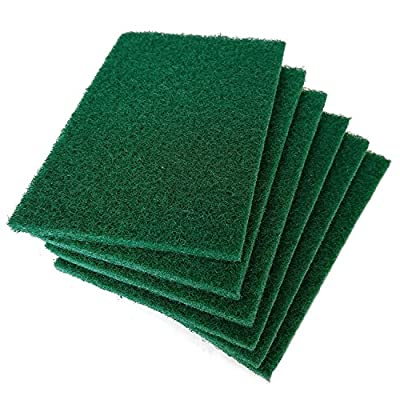 Hulless 12 per pack Scrub sponge Scouring pads, Household cleaning utensil scrubber,Pot brush scrubbers kitchen cooking utensil cleaning tools,Non-Scratch Anti-Grease Technology,Reusable,Green.