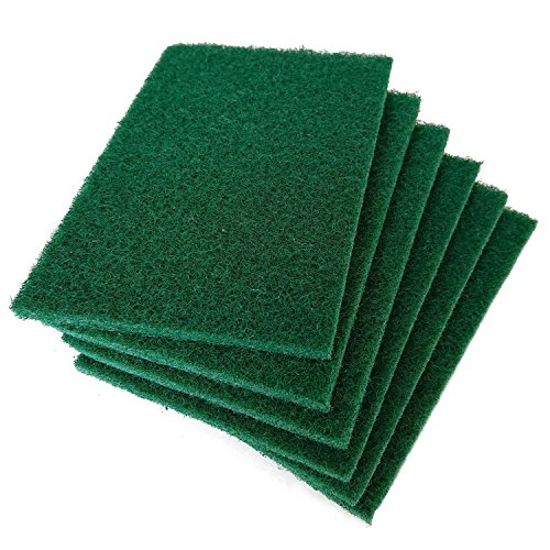Hulless 12 per pack Scrub sponge Scouring pads, Household cleaning utensil scrubber,Pot brush scrubbers kitchen cooking utensil cleaning tools,Non-Scratch Anti-Grease Technology,Reusable,Green. (Scrubber Green)