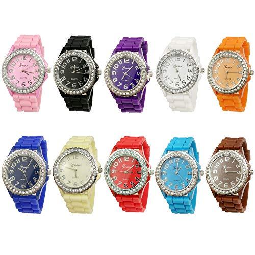 Geneva Women's 10 PCS Watches Crystal Wristwatch Set Silicone Jelly Band (Bands Watch Geneva)