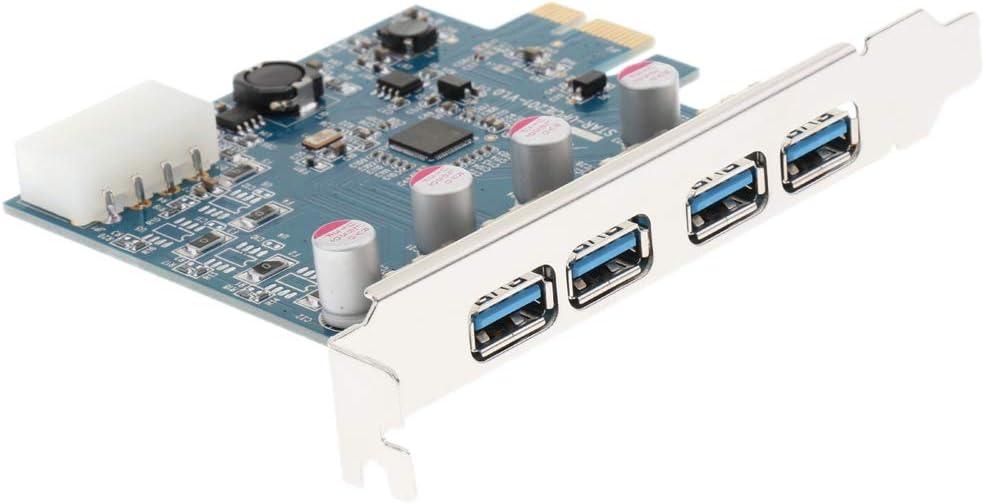 Almencla 2 Pieces PC Computer PCI-e 4Ports USB 3.0 Hub Controller Expansion Riser Card Adapter