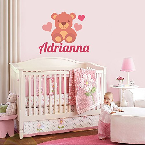 Custom Name Pink Teddy Bear - Baby Girl - Wall Decal Nursery For Home Bedroom Children (28 Wide x 24 Height)
