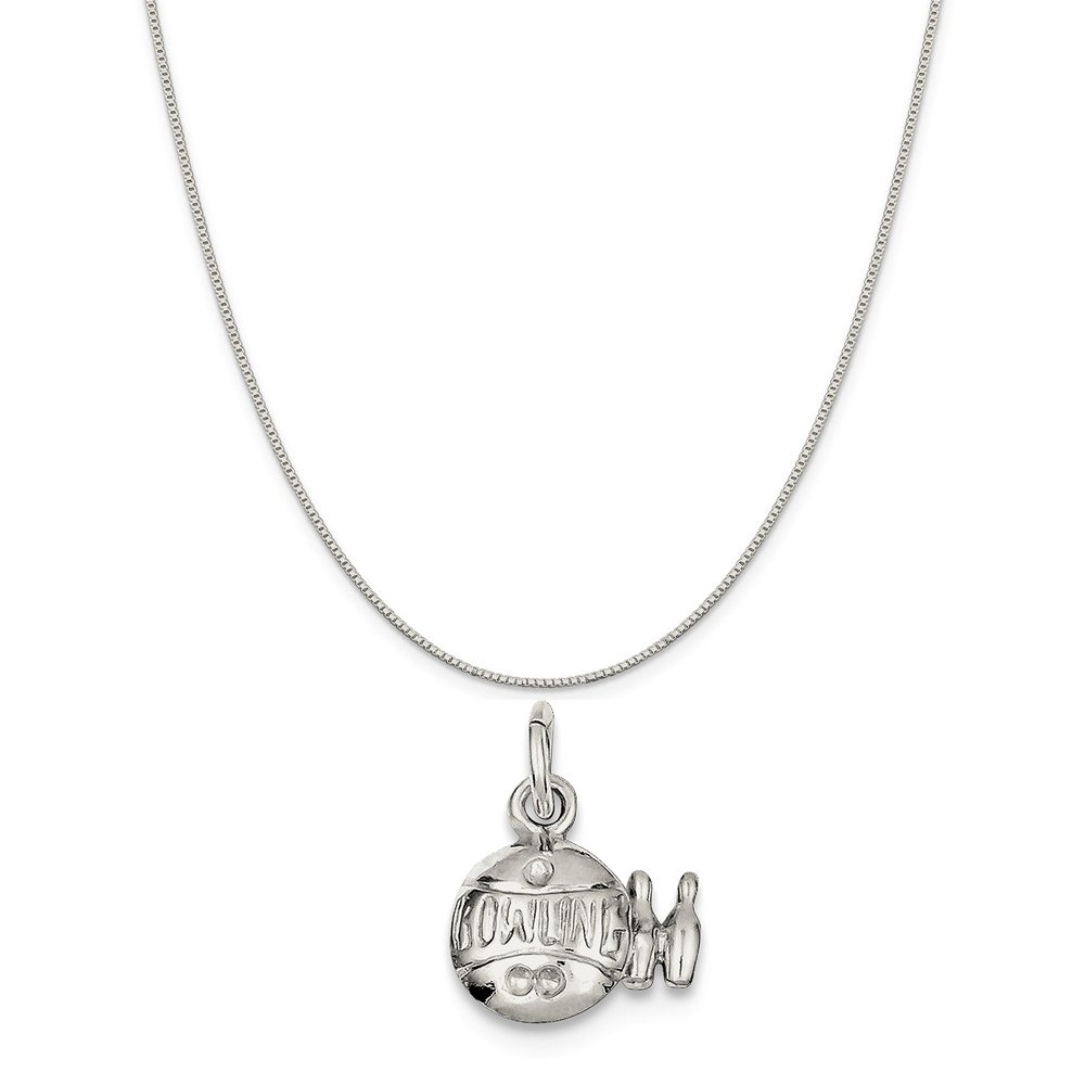 18 Mireval Sterling Silver Bowling Ball Charm on a Sterling Silver Carded Box Chain Necklace
