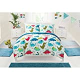 5pc Kids Dinosaurs Themed Comforter Twin Set, Bright Colors Blue Green Orange, Pretty Dino Paw Bedding, Colorful Cute Stegosaurus Pattern, Gorgeous Jurassic Animal