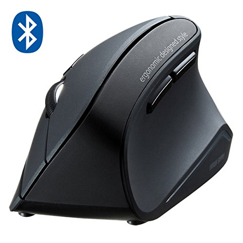 SANWA Bluetooth Vertical Ergonomic Mouse, Blue LED Optical Mice, 3 Adjustable DPI 800/1200 / 1600, 6 Buttons, for PC Laptop Computer MacBook, Black, GMAERGBT11