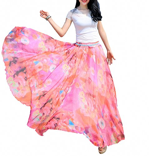 Afibi Women Full/Ankle Length Blending Maxi Chiffon Long Skirt Beach Skirt (Medium, Design ()