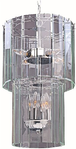 Park Madison Lighting PMC-6902-15 7 Light Clear Beveled Glass Square Chandelier / Ceiling Fixture with Polished Chrome Finish, 12 3/4″ Dia, 10″ Tall