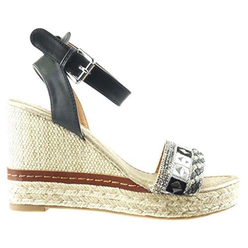 Angkorly - Scarpe da Moda sandali Espadrillas zeppe donna strass tanga corda Tacco zeppa piattaforma 10 CM - Nero