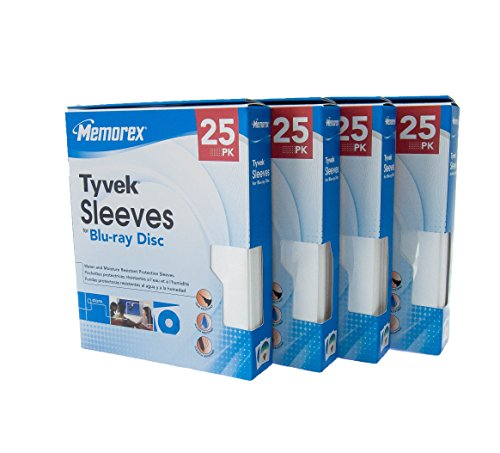 100 Memorex Tyvek Sleeves with window for Blu-ray, DVD, and CD