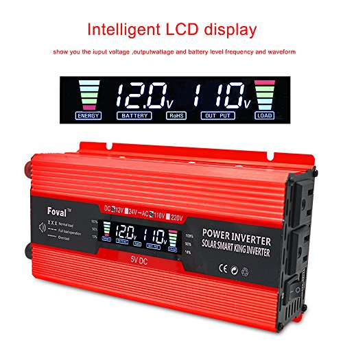 IpowerBingo 700W/1500W Power Inverter Dual AC Outlets and Dual USB Charging Ports DC 12V to 110V AC Car Converter with Digital Display -