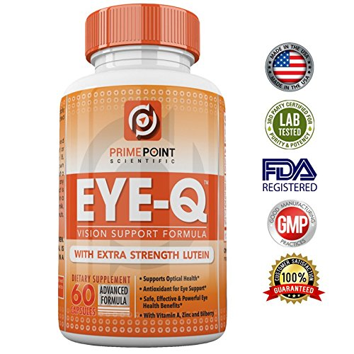 EYE-Q Powerful Vision Support Advanced Formula with: Extra Strength Lutein, Bilberry, Vitamin A and Zinc, BEST Support for Retina and Macula with Vitamins and Antioxidants 60 Tablets Diabetic Support Formula 60 Tablets