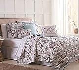 S.L. Home Fashions 6 Piece Abigail Floral Mint/Blush/White Quilt Set Full/Queen