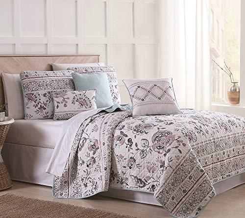S.L. Home Fashions 6 Piece Abigail Floral Mint/Blush/White Quilt Set Full/Queen - Floral Polyester Quilt