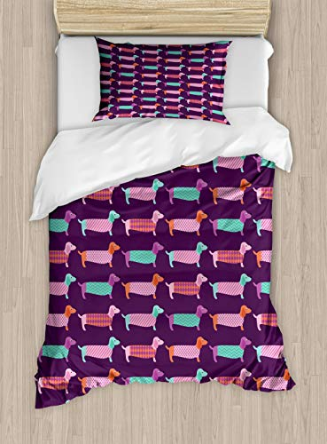 Ambesonne Dachshund Duvet Cover Set Twin Size, Sixties Inspired Color Palette with Abstract Pet Puppies Pattern Funky Animals, Decorative 2 Piece Bedding Set with 1 Pillow Sham, Multicolor