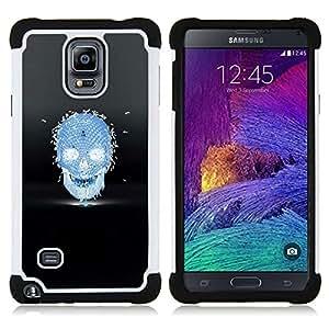 BullDog Case - FOR/Samsung Galaxy Note 4 SM-N910 N910 / - / BEES HONEY BLUE BLACK SKULL DEATH /- H??brido Heavy Duty caja del tel??fono protector din??mico - silicona suave