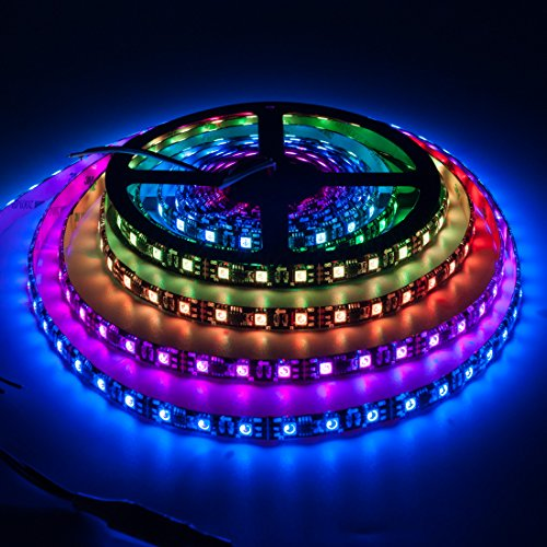 BTF-LIGHTING WS2811 5m 16.4ft 60LEDs/m 300LEDs Addressable Flexible LED Strip Dream Color IP65 Silicone Coating Waterproof DC12V Black PCB
