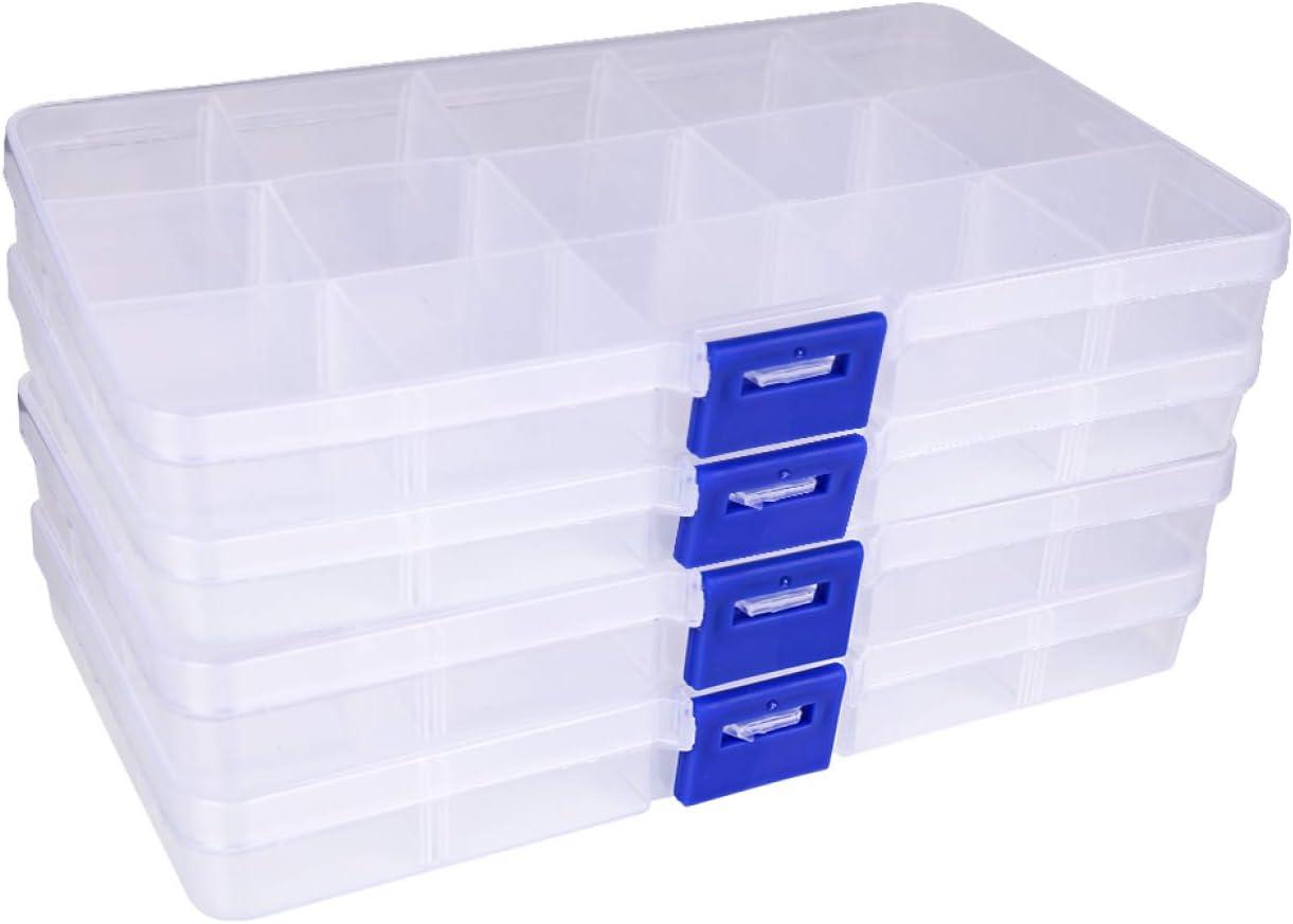 xinxiang Organizador de Joyas, 15 Rejillas de plástico Caja de ...
