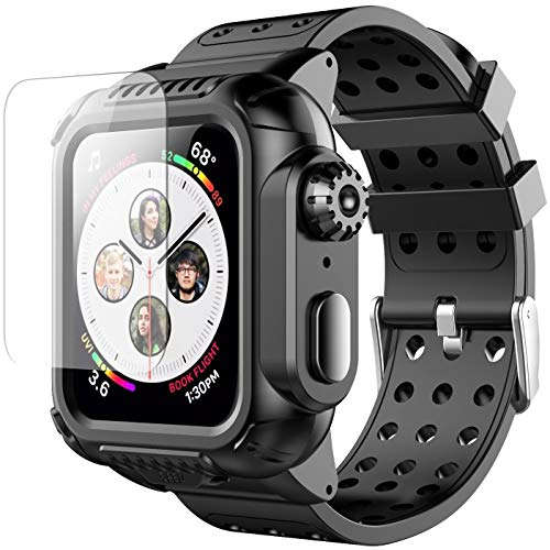 Apple Watch 4 Case 44mm with Band(2018), Oterkin Rugged Watch 4 Case with Strap Band Built-in Screen Protector Full Body Protective Case for Apple Watch Series 4(44mm) Shockproof/Anti-Scratch and More by Oterkin (Image #8)