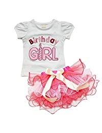 Theplus Girls Birthday Short Sleeve T-Shirt Tutu Cupcake Skirt Sets Outfit
