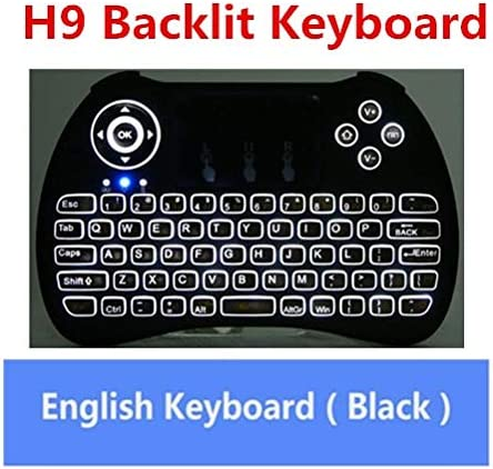 Calvas Backlight Keyboard H9 Mini Hand-held Wireless QWERTY Keyboard 2.4GHz Air Mouse Touchpad for Android TV BOX Laptop Backlit Color: H9 Backlit Keyboard