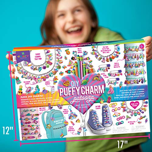 Craft-tastic – DIY Puffy Charm Palooza – Jewelry Making Kit Creates 249 Charms for Bracelets, Necklaces, Pencil Toppers…