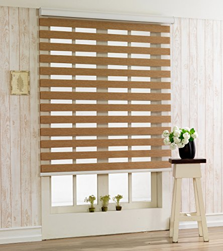 Custom Cut to Size , [Winsharp Woodlook 47 , Walnut , W 27 x H 47 (Inch)] Horizontal Window Shade Blind Zebra Dual Roller Blinds & Treatments , Maximum 91 Inch Wide by 103 Inch Long
