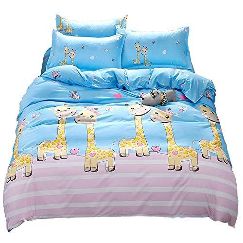 - LuDan Bedding Set Cartoon Giraffe Print 3pcs Bedding Set Duvet Cover Without Comforter Pillowcase Twin Full Queen for Kids Teens A/B Design for Kids (Giraffe, Twin 59