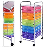 Gomangos Fashion 10 Drawer Rolling Storage Cart Scrapbook Paper Office School Organizer Rainbow