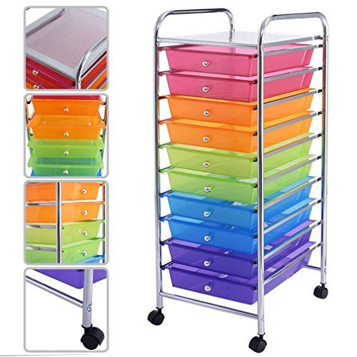 Gomangos Fashion 10 Drawer Rolling Storage Cart Scrapbook Paper Office School Organizer Rainbow